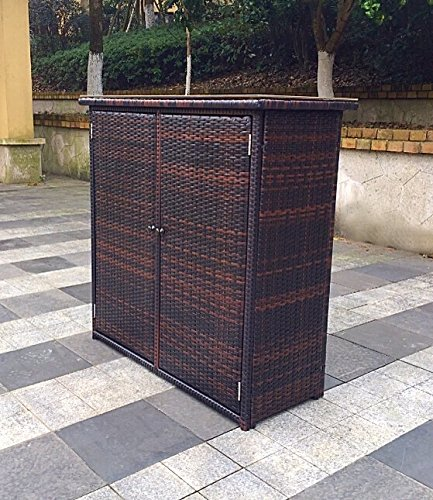 Outdoor Aluminum and Wicker Console Patio Table - Brown (Wicker Console compare prices)