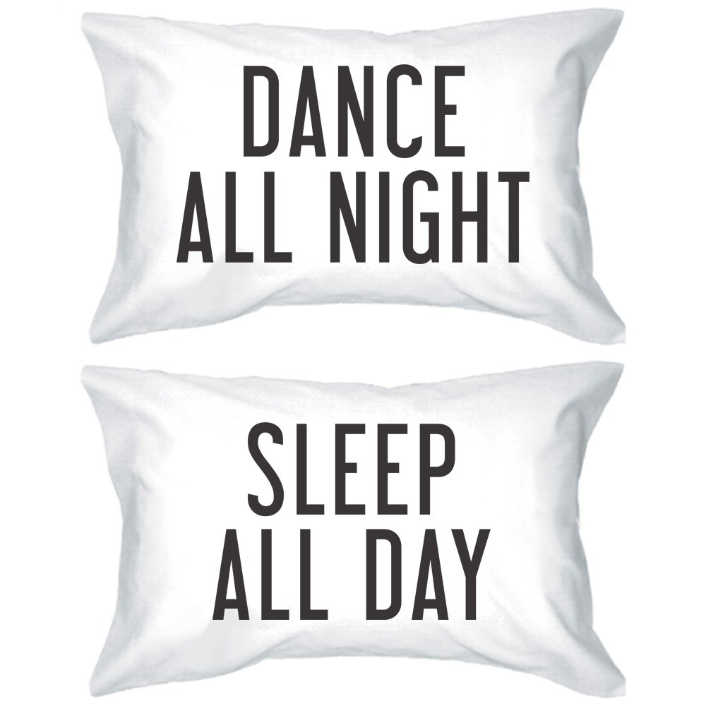 Bold Statement Pillowcases 300-Thread-Count Standard Size 21 x 30 – Dance All Night Sleep All Day