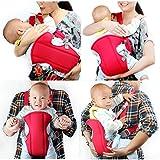 ベビー用抱っこひも おんぶ紐 負担を約90%軽減 ママの肩腰 赤ちゃんの足にもやさしい (赤色 )