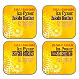 MeSleep Rakhi Wooden Coaster-Set Of 4