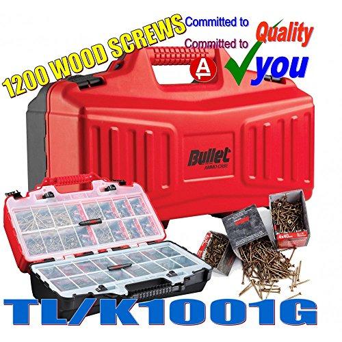 Bullet AMMO Case & 1120 Assorted Wood Screws Set Heavy Duty Storage Box Kit NEW