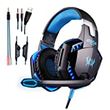 COLOR-V Gaming Headset for Ps4, Pc,Xbox One,Laptop,Switch(Audio) and So On with Soft Breathing Earmuffs,Comfortable Mute & Volume Control,LED Lights,Noise Cancelling Mic(Black and Blue) (Color: BLUE)