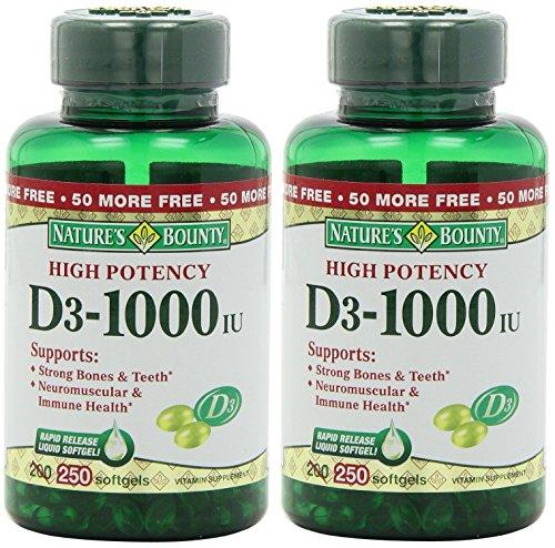 Nature's Bounty Vitamin D3-1000 IU, 500 Softgels (2 X 250 Count Bottles) (Liquid Vitamin D3 1000 Iu compare prices)