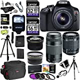 Canon EOS Rebel T6 Digital SLR Camera Kit with EF-S 18-55mm and EF 75-300mm Zoom Lenses + Polaroid .43x Super Wide Angle & 2.2X HD Telephoto Lens + Polaroid Tripods + Memory Cards + Accessory Bundle