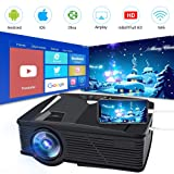 Neefeaer WiFi Wireless Projector, Mini Video Projector LCD Portable Home Projector WiFi Directly Connect Smartphone 50% Brighter 1080P HD Outdoor Movie Projector, Support HDMI USB AV VGA (Color: Black)