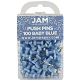 JAM PAPER Colorful Push Pins - Baby Blue Pushpins - 100/Pack (Color: Baby Blue, Tamaño: 100 Pack)