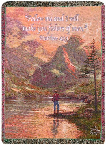 Manual Thomas Kinkade Collection Tapestry Throw, Almost Heaven With Verse, 50 X 60-Inch