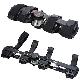 Hinged ROM Knee Brace, Adjustable Post OP Patella Brace Support Stabilizer Pad Orthosis Splint Wrap Medical Orthopedic Guard Protector