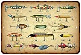Early Fishing Lures Vintage Look Reproduction 8x12 Metal Sign 8120784