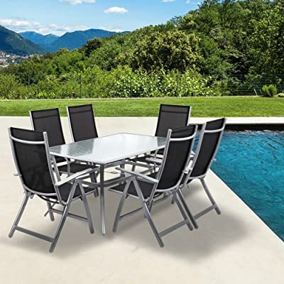 'Italia' Garden Patio 7pc Dining Set with Glass Top Table & 6 Reclining Arm Chairs | Weather Resistant | Luxury Outdoor Furniture | 6 Seater Set | Black & Crome Finish
