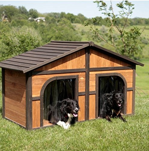 Extra-Large-Solid-Wood-Dog-Houses-Suits-Two-Dogs-Or-1-Large-Breeds-This-Spacious-Large-Dog-Kennel-Has-Two-Doors-And-Can-Be-Partitioned-For-Two-Dogs-Large-Outdoor-Dog-Bed-Has-A-Raised-Bottom-and-Natura