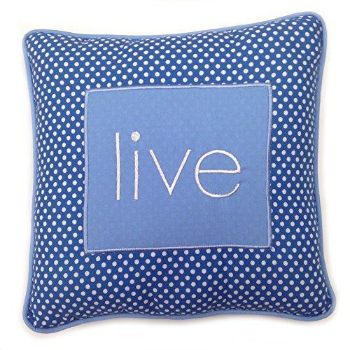 One Grace Place Simplicity Blue Decorative Pillow Live, Blue, Light Blue, White