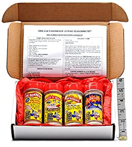 Obie-Cue's Texas Gift Box, 4 bottles - BBQ Legend Assortment (Sweet 'n Heat, Celerbration, Sunshine & BBQ Bomber)