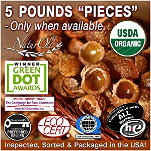 SALE!!! NaturOli Organic Soap Nuts / Soap Berries PIECES - FIVE POUNDS (1000+ Loads) Seedless USDA Certified - Fresh Wild Harvest - Hypoallergenic, Non-toxic