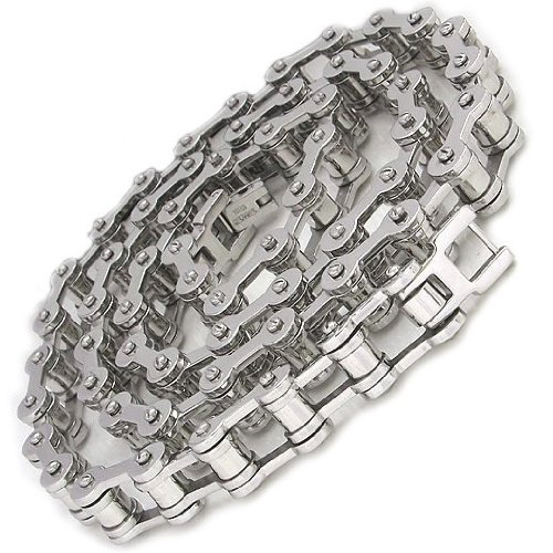 Mens Bike Chain Necklace in 9MM Polished Stainless Steel