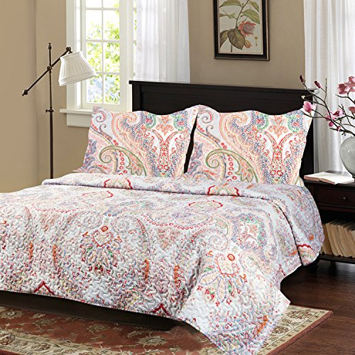 Bedsure Flourish Style 3-Piece All Season Classic Quilt Set – Quilt and Sham, Bedspread and Coverlet, Hypoallergic and Lightweight — Full/Queen, Floral #3