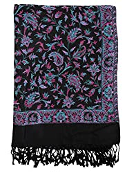 Gorgeous Viscose Stole Black 80x40 Paisley Self Weaved shawl By Rajrang