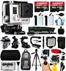 GoPro HERO3+ Hero 3+ Black Plus Edition Camera Camcorder with 128GB Accessories Bundle includes 2x Battery + Backpack + Action Handle + Car Mount + Selfie Stick + Case + LED Video Light (CHDHX-302)