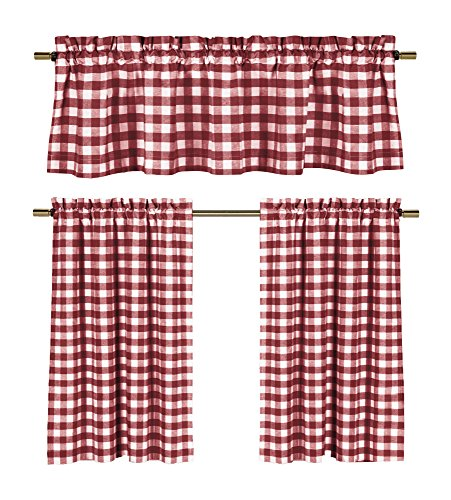 Wine Red White Kitchen Curtains: Gingham Checkered Plaid Design (Red White Curtains compare prices)