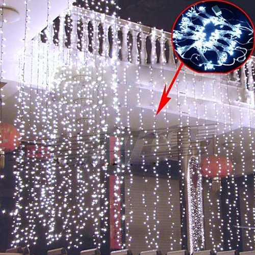 Fuloon 4M X 3M With 400 Led Curtain Light / Christmas Xmas Light/Decoration/Christmas/Fairy/Party/ Festival / Novelty Light Outdoor Xmas String Fairy Wedding Curtain Light 8 Modes For Choice 110V (White, 4M X 3M With 400 Led)
