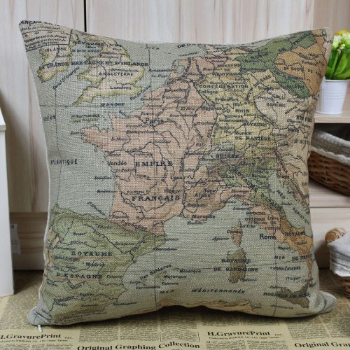 European Map World Map Colorful France Cushions Covers Pillow Cases front-450270