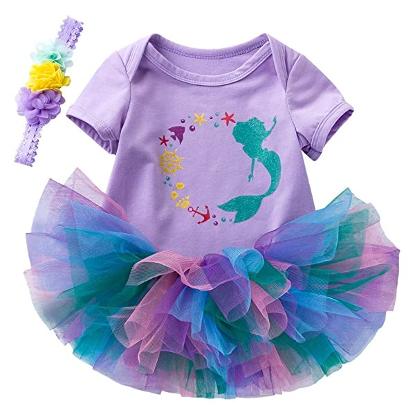 Infant Baby Girl Mermaid Romper Tutu Skirt Outfit 1st Birthday Party Clothes Set
