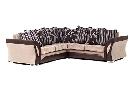 NEW FARROW LEATHER & CHENILLE FABRIC CORNER SOFA IN BROWN & BEIGE