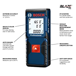 Bosch GLM165-10 Blaze One Laser Distance Measure, 165'