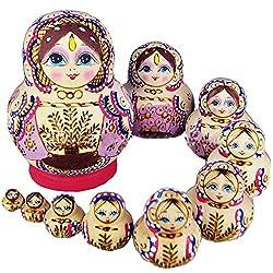 10 layers Beautiful Purple Tree Lady Wooden Russian Nesting Dolls Children Kids Toys Gift Matreshka Handmade Hand-painted Home decoration from Winterworm