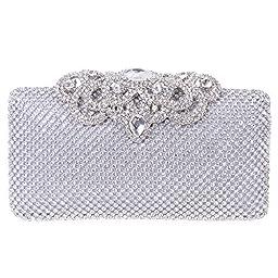 Fawziya Crown Clutch Purse Bling Hard Box Rhinestone Crystal Clutch Bag-Silver