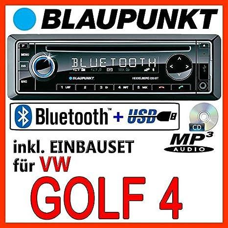 VW Golf 4 - BLAUPUNKT Heidelberg 220 BT - CD/MP3/USB Autoradio inkl. Bluetooth - Einbauset