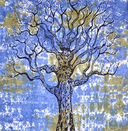 Cruz con diseño de árbol de la vida, indio tapiz de pared hecho a Hippie, de flores de colcha, Mandala algodón dormitorio Decor playa - AndExports