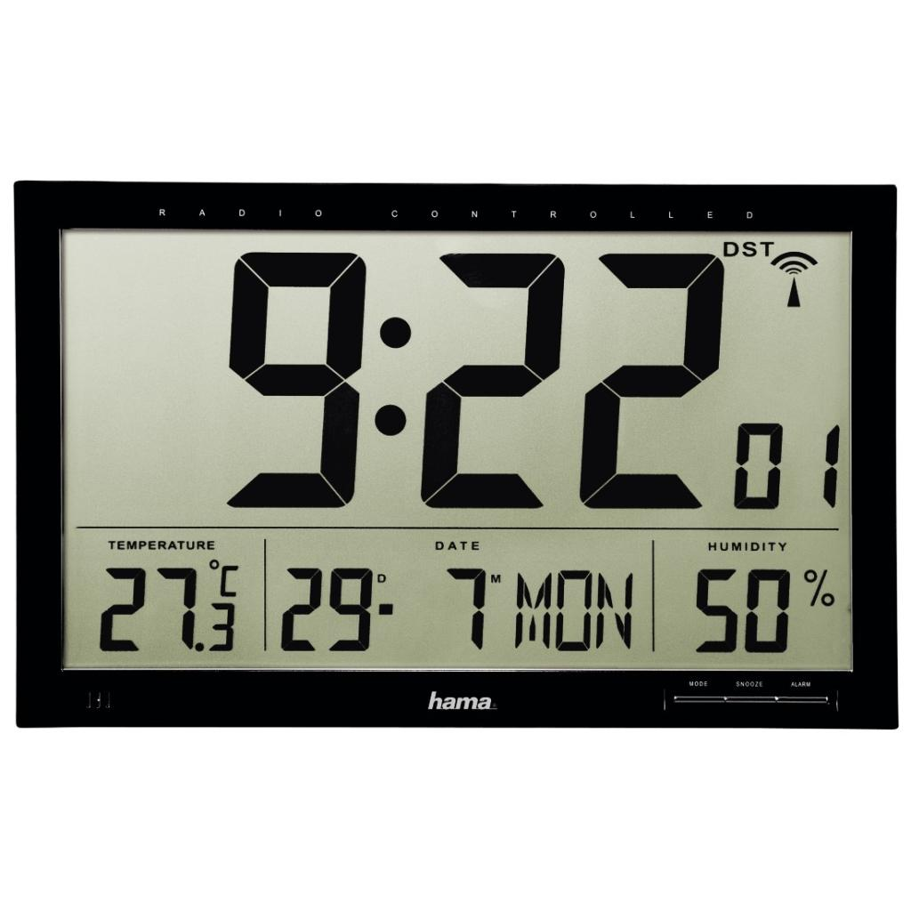 hama funk wanduhr jumbo mit lcd display wecker thermometer hygrometer und kalender 36 8 x 3. Black Bedroom Furniture Sets. Home Design Ideas