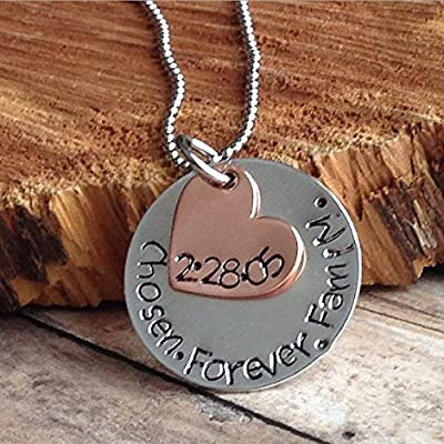 Adoption Necklace - Adoption Jewelry - Hand Stamped - Personalized - Adoption Gift - Adoption - Mommy Necklace -Personalized Jewelry