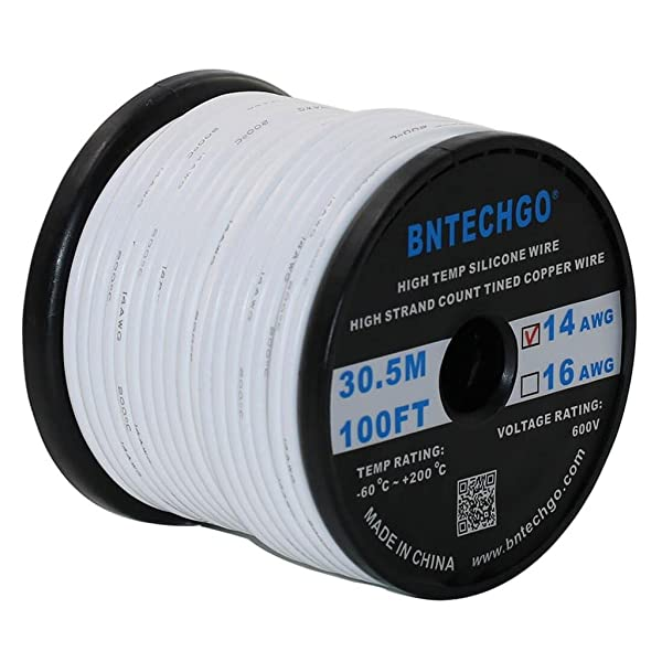 BNTECHGO 14 Gauge Silicone Wire Spool White 100 feet Ultra Flexible High Temp 200 deg C 600V 14 AWG Silicone Rubber Wire 400 Strands of Tinned Copper Wire Stranded Wire for Model Battery Low Impedance (Color: Silicone Wire White, Tamaño: silicone wire 100ft)