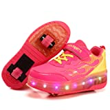 Kids Rechargeable Wheelies Lightweight Fashion Sneakers LED Light Up Shoes Double Wheels Roller Skate Shoes (Pink-13 M US Little Kid) (Color: Pink, Tamaño: 13 M US Little Kid)