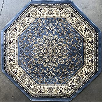 Traditional Octagon Persian 330,000 Point Oriental Area Rug Light Blue Deir Debwan Design 603 (4 Feet X 4 Feet )