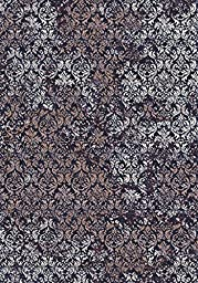 Area Rug, Copper/Ivory Open Print Stain Resistant Carpet, 5\' 3\