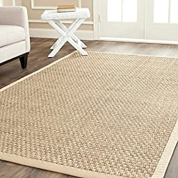 (5\' x 8\')Quarter-inch pile height is easy-to-maintain and convenient for placement under furniture ,Safavieh Casual Natural Fiber Natural and Beige Border Seagrass Rug