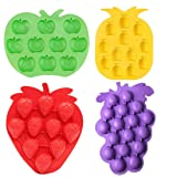 Fruits Series Silicone Fondant Mold Candy Mold Strawberries Pineapples Apples Grapes Mold for Sugarcraft Cake Decoration Candy Mold Cupcake Topper Summer Ice Cube Tray (Set of 4) (Color: Grapes)