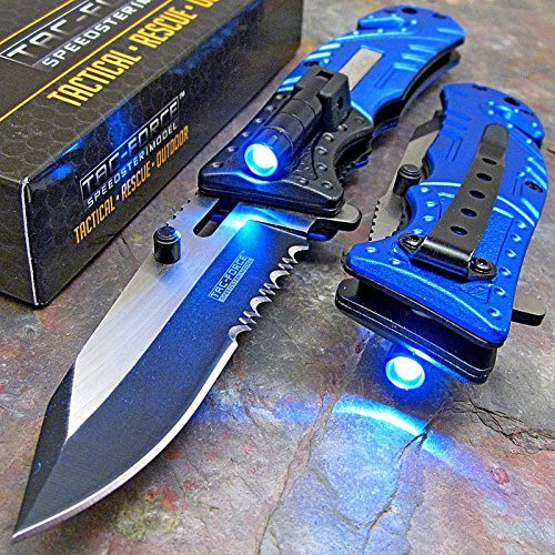 TAC-FORCE Blue POLICE Spring Assisted Open LED Tactical Rescue Pocket Knife (Italian Switch Blades compare prices)