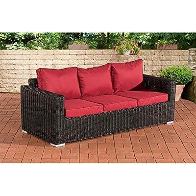 3er-Sofa Madeira Rubinrot schwarz von CLP - Gartenmöbel von Du und Dein Garten