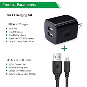 USB Charging Block Brick, NINIBER Micro USB Cable Charging Box Adapter Plug Android Phone Cord 2.1A Dual USB Wall Charger Compatible Honor 7X 6X 5X Motorola Moto G6 Play E4/E5/G5S/G5/G4 Plus Play (Color: B06-Android Phone wall charger)
