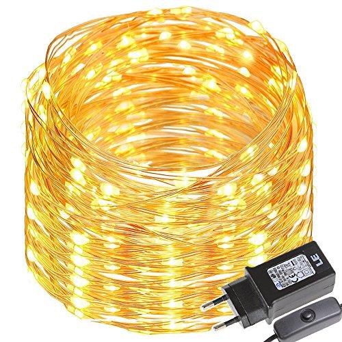 LE Cadena de luces LED 20m 200 LED Blanco cálido Alambre de cobre impermeable Interruptor incluido