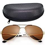 LotFancy Men's Aviator 61mm Polarized Sunglasses With Case,100% UV400
