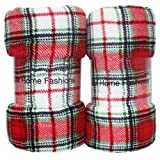 J & M Home Fashions Holiday Plaid Plush Fleece Blanket, 50 by 60-Inch, Red, 2-Pack