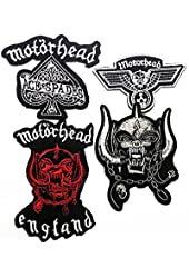 Pack of 4 Motorhead Heavy Metal Rock Punk Music Band Logo Jacket Polo T Shirt Patch Sew Iron on Embroidered # WITCH FREE GIFT