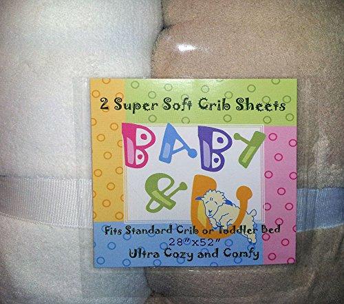 Baby & U Super Soft Crib Sheets - 2 Pack White/Beige - 1