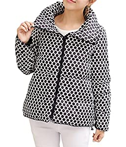 YUWa Women's Classic Candy Color Dot Print Outwear Casual Short Down Coat Parka Black S