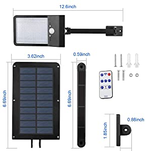 Aqonsie 48 Led Remote Solar Lights Outdoor 180° Adjustable Angle Security Night Light Wireless Motion Sensor Remote Control & 3 Lighting Modes with M